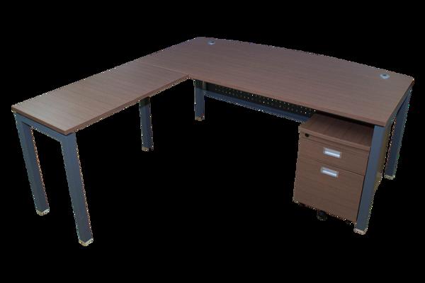 Elite 1800 Exec. Desk w/Ret. & Pedestal - Pine