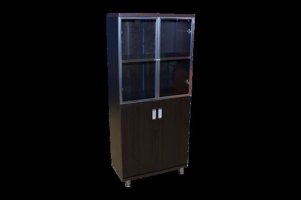 Echo 5-S Cabinet w/Glass & Solid Doors - Bk/Walnut