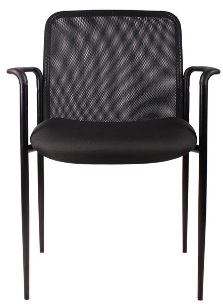 Boss Stackable Mesh Side Chair w/Arms - Black