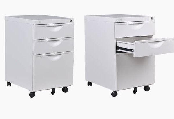 Image Metal 3-Drawer Pedestal (White)