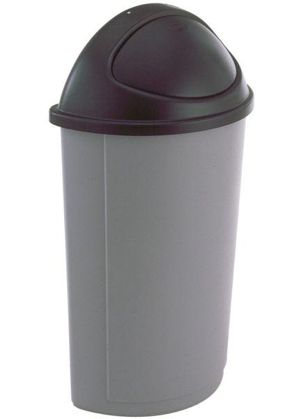 R/Maid Half-Round Waste Basket w/Lid Grey 21gal #3520