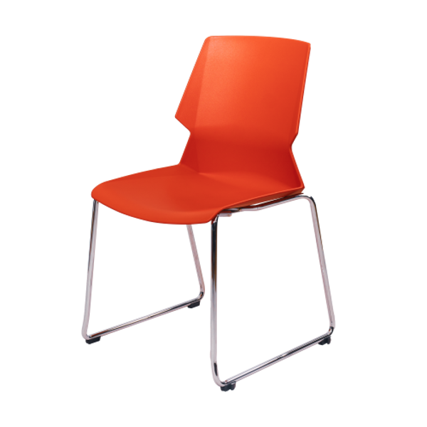 Image Stack Chair w/Chrome Frame - Red
