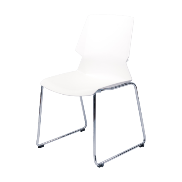 Image Stack Chair w/Chrome Frame - White