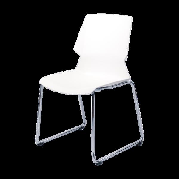 Image Stack Chair w/Chrome Frame - White