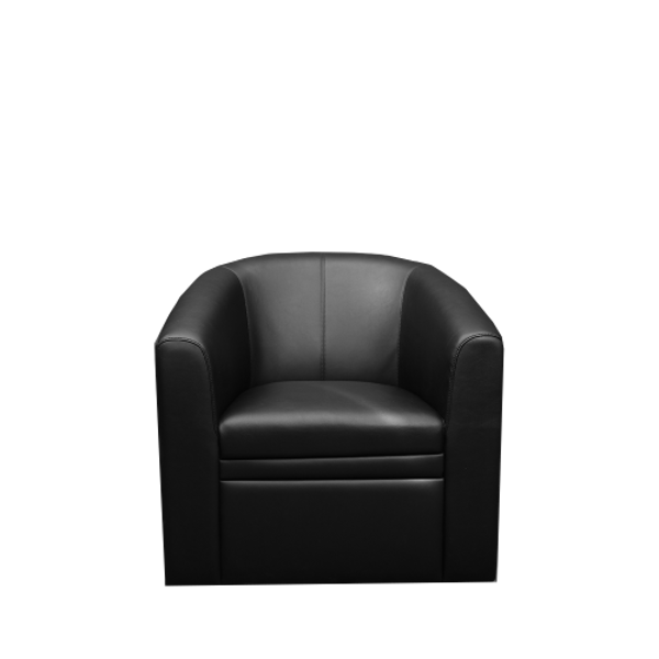 Image 1-Seater PU Bucket Sofa - Black