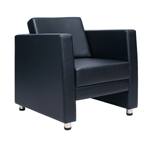 Image 1-Seater PU Sofa - Black