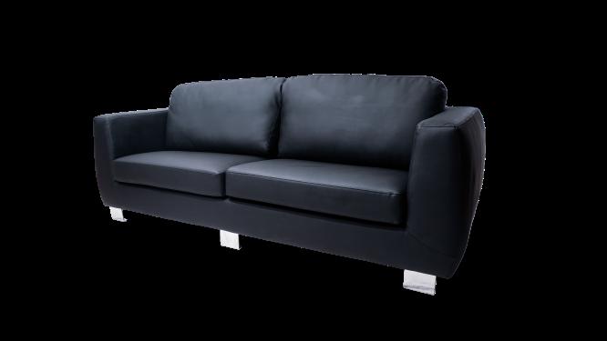 Image 3-Seater Plush PU Sofa - Black