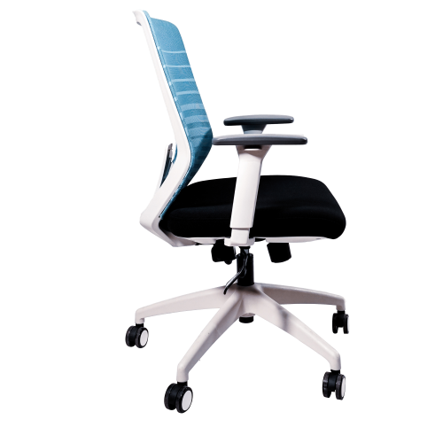 Anji High Back White Frame Mesh Chair w/arms- Blue