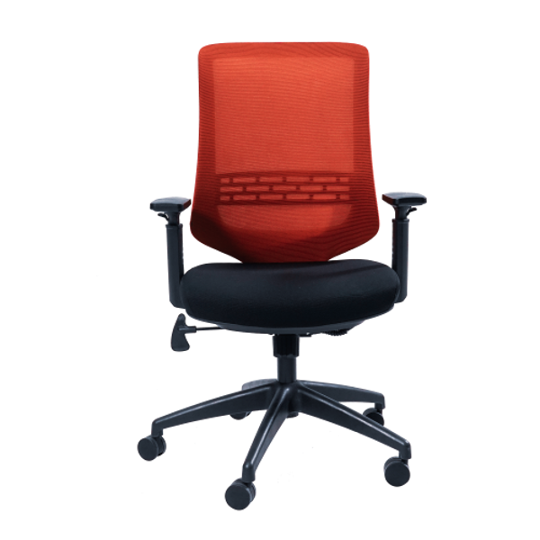 Anji High Back Mesh Chair w/Arms - Red