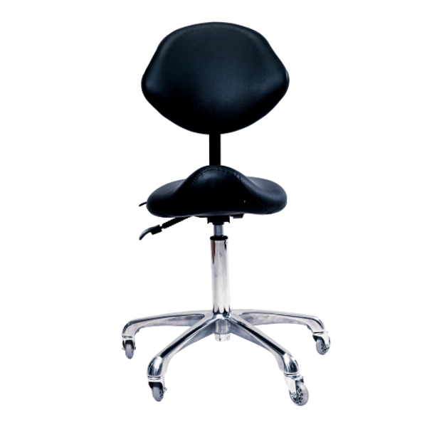 Adjustable Saddle Stool Chair w/Back - Black