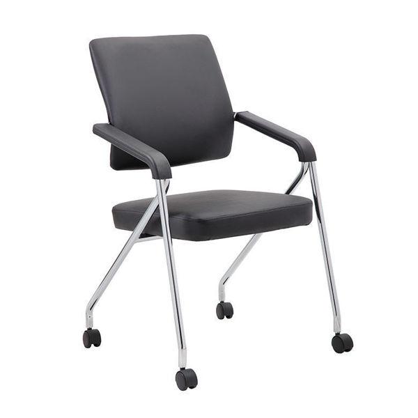 Boss Folding Chair on Castors Bk/Bk
