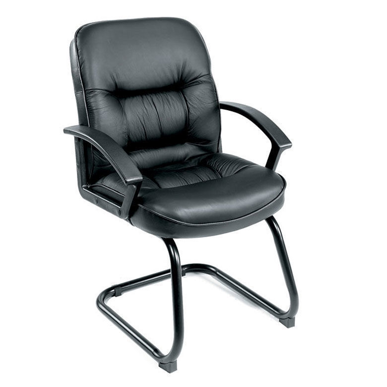 Boss Leather Plus Side Chair - Black