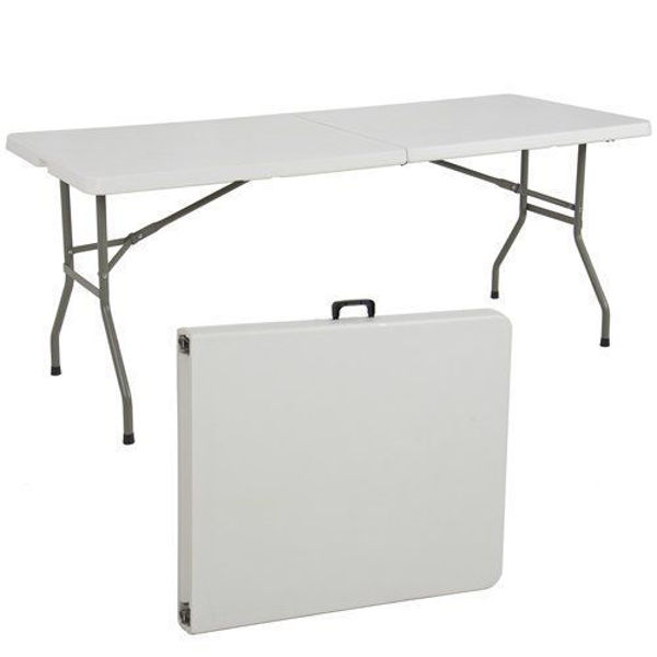 Image 1830x760 Plastic Table w/Folding Top & Legs  - Off White