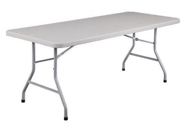 Image 1830x760 Plastic Table w/Folding Legs - White