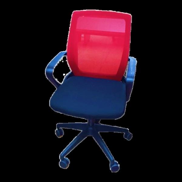 Anji Medium Back Mesh Chair w/Arms - Red