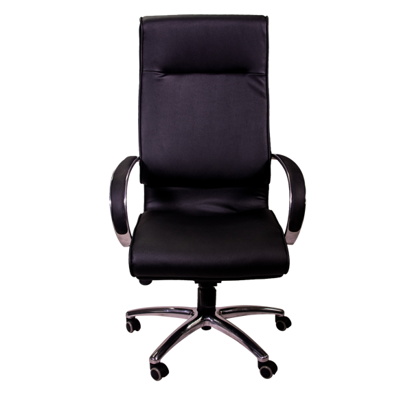 Image High Back Exec Vinyl Chair w/Chrome Base - Blk