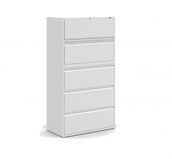 Image 5-Drawer Lateral Cabinet - Grey