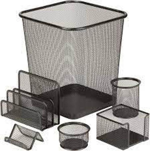 Picture of 24-038 Honey-Can-Do Mesh 6-Pcs Desk Set - Black